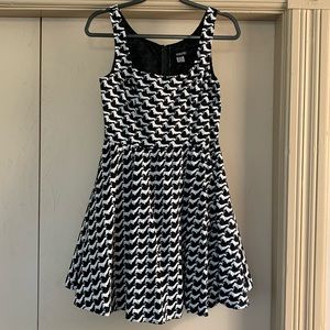 Retrolicious Black & White Dachshund Print Dress